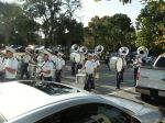 The band marches along Hagood Avenue