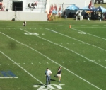 The winner runs off the field