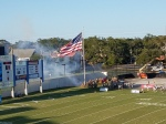 Smoke from a more traditional source (in a smoke-free stadiumthough)